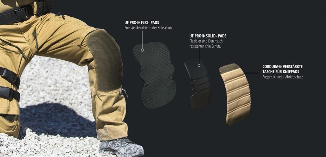 Die Uf Pro Striker HT Kampfhosen können mit verschiedenen Knieprotektoren ausgerüstet werden