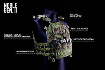 """Plate Carrier """"Noble Gen 2"""" von Husar System® in Cojote, Pencott Greenzone®, Multicam® und Flecktarn"""