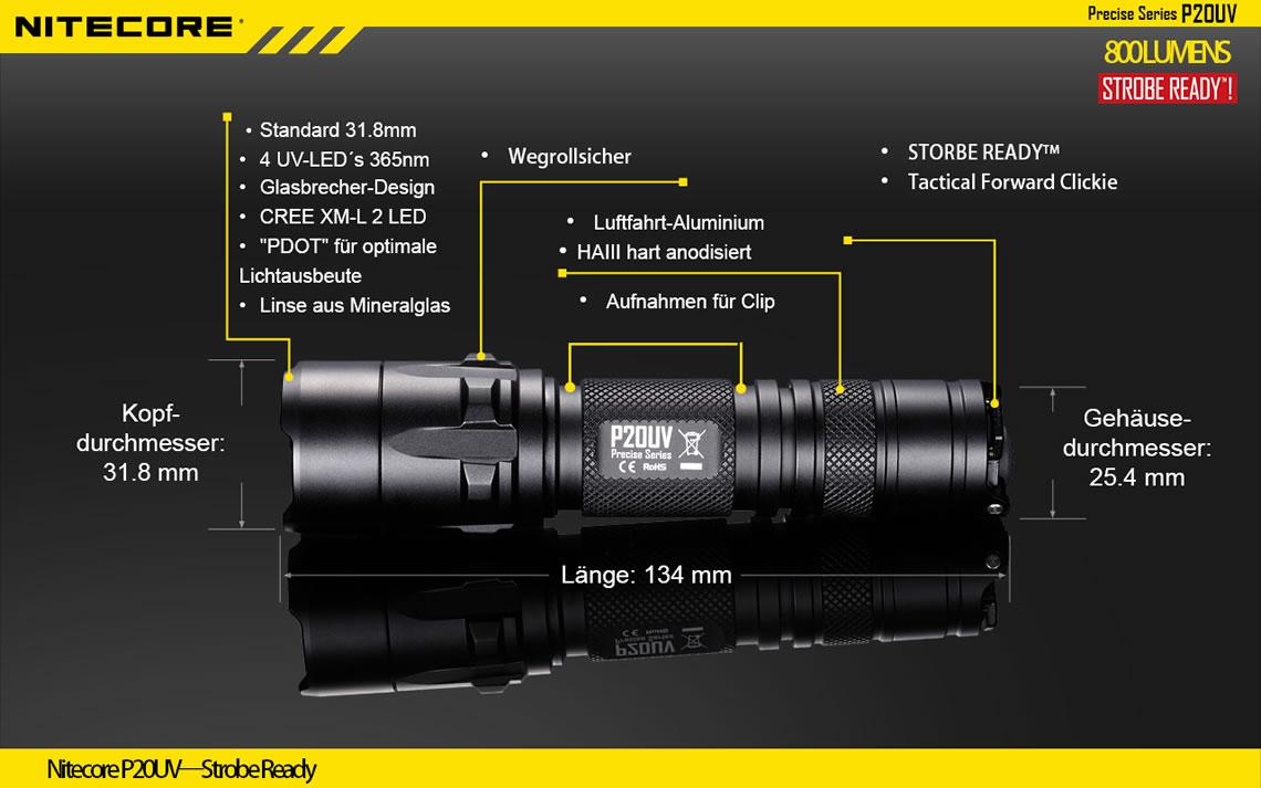 Die taktische Taschenlampe NiteCore P20UV mit 800 Lumen und UV-Licht für Einsatzkräfte