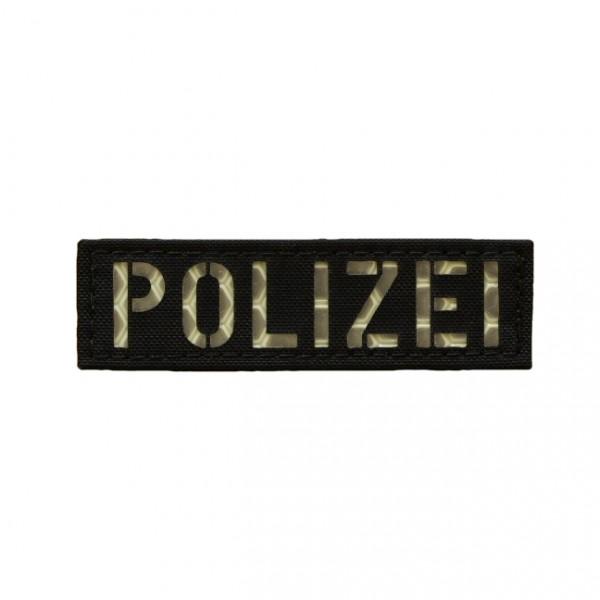 Avustaja Polizei Patch schwarz mit nachleuchtender 3M Reflex Folie