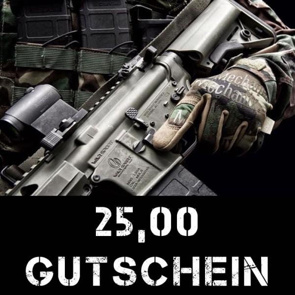 Gutschein über 25 Euro für taktische Bekleidung und Ausrüstung