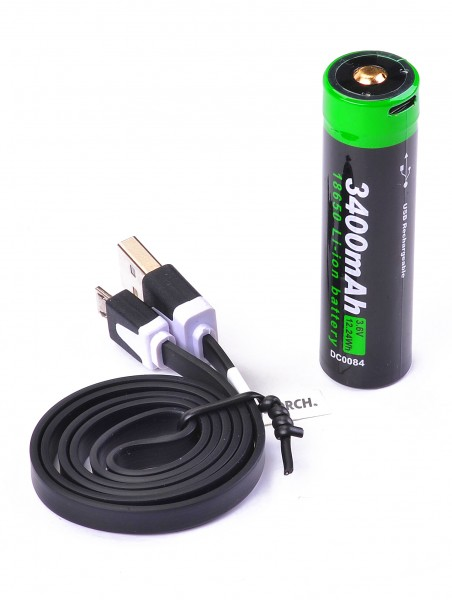 NEXTORCH Akku 18650 USB (Li-Ion) 3,6V 3.400mAh