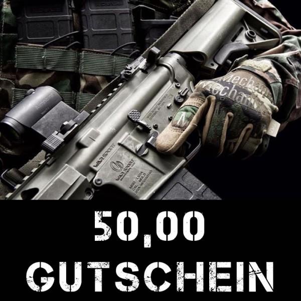Gutschein über 50 Euro für taktische Bekleidung und Ausrüstung