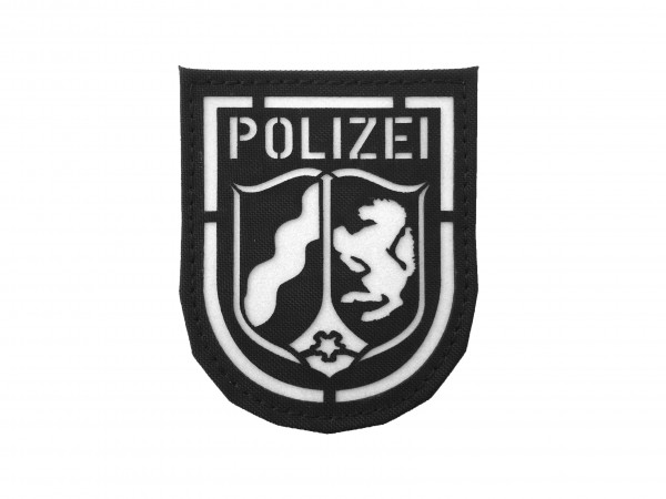 """Polizei-Patch """"NRW"""" in Lasercut mit weiß reflektierender 3M Folie"""